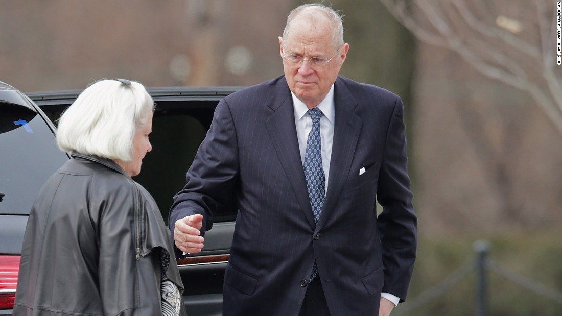 Justice Anthony Kennedy and his wife, Mary Davis, arrive at Scalia's funeral Mass on February 20.