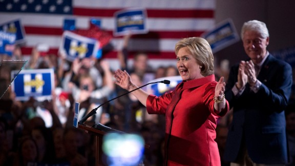 Democratic presidential candidate Hillary Clinton arrives gives a victory speech at Caesars Palace in Las Vegas on Saturday, February 20, after edging out Bernie Sanders in Nevada's Democratic caucuses.