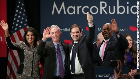 "COLUMBIA, SC - FEBRUARY 20:  Republican presidential candidate Marco Rubio (2nd R) celebrates with (L-R) South Carolina Gov. Nikki Haley, Rep. Trey Gowdy (R-SC) and Sen. Tim Scott (R-SC) after Rubio addressed supporters at a primary night event February 20, 2016 in Columbia, South Carolina. Rubio was locked in a tight race with Sen. Ted Cruz for second place in the ""First in the South"" primary.  (Photo by Win McNamee/Getty Images)"