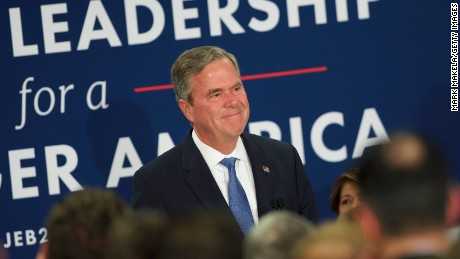 Jeb Bush reacts as he announces the suspension of his presidential campaign at an election night party at the Hilton Columbia Center in Columbia, SC on February 20, 2016.