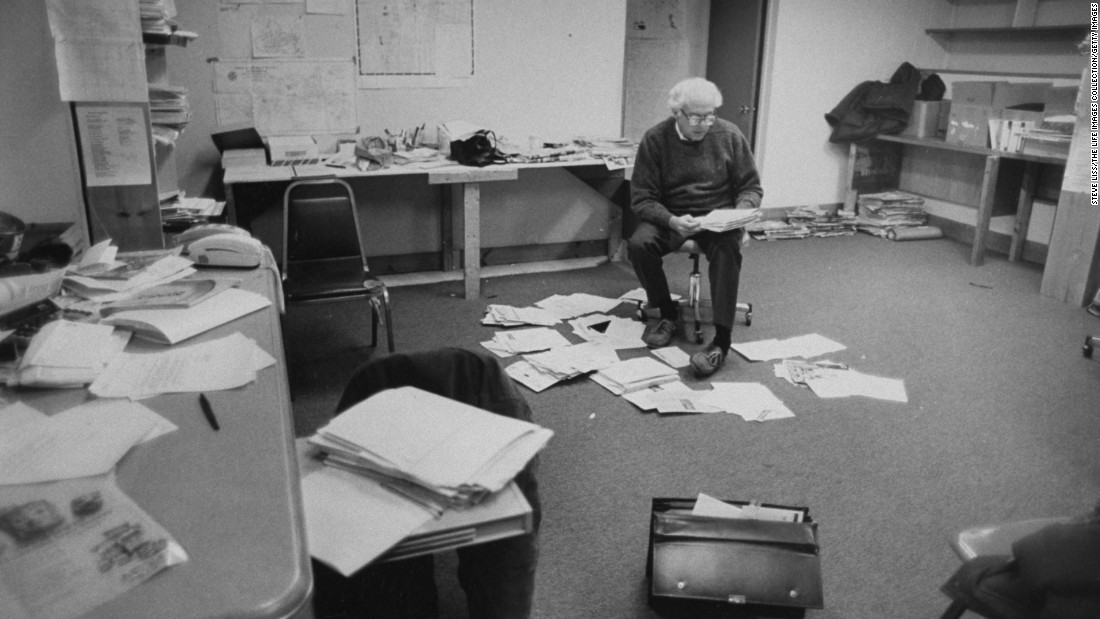 Sanders reads mail at his campaign office in Burlington in 1990. He was running for the US House of Representatives after an unsuccessful bid in 1988.