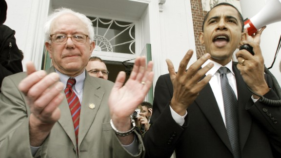 Barack Obama, then a US senator, endorses Sanders' Senate bid at a rally in Burlington in 2006.