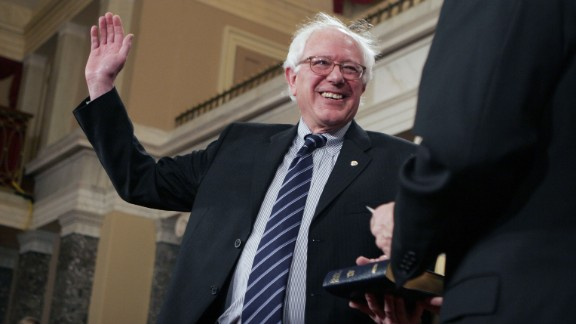 Sanders takes part in a swearing-in ceremony at the US Capitol in January 2007. He won his Senate seat with 65% of the vote.