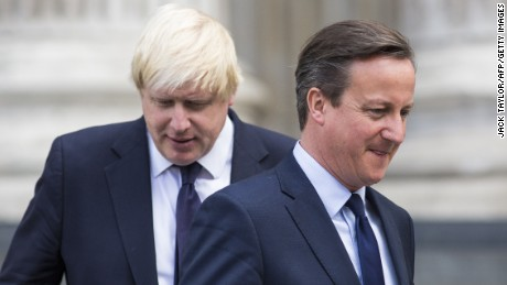 British Prime Minister David Cameron (R) and London Mayor Boris Johnson leave St Paul's Cathedral in central London on July 7, 2015 after attending a memorial service in memory of the 52 victims of the 7/7 London attacks. Britain today marked 10 years since the London bombings with a minute's silence for the 52 victims, less than a fortnight after an attack in Tunisia highlighted the ongoing Islamist threat.   AFP PHOTO / JACK TAYLOR        (Photo credit should read JACK TAYLOR/AFP/Getty Images)