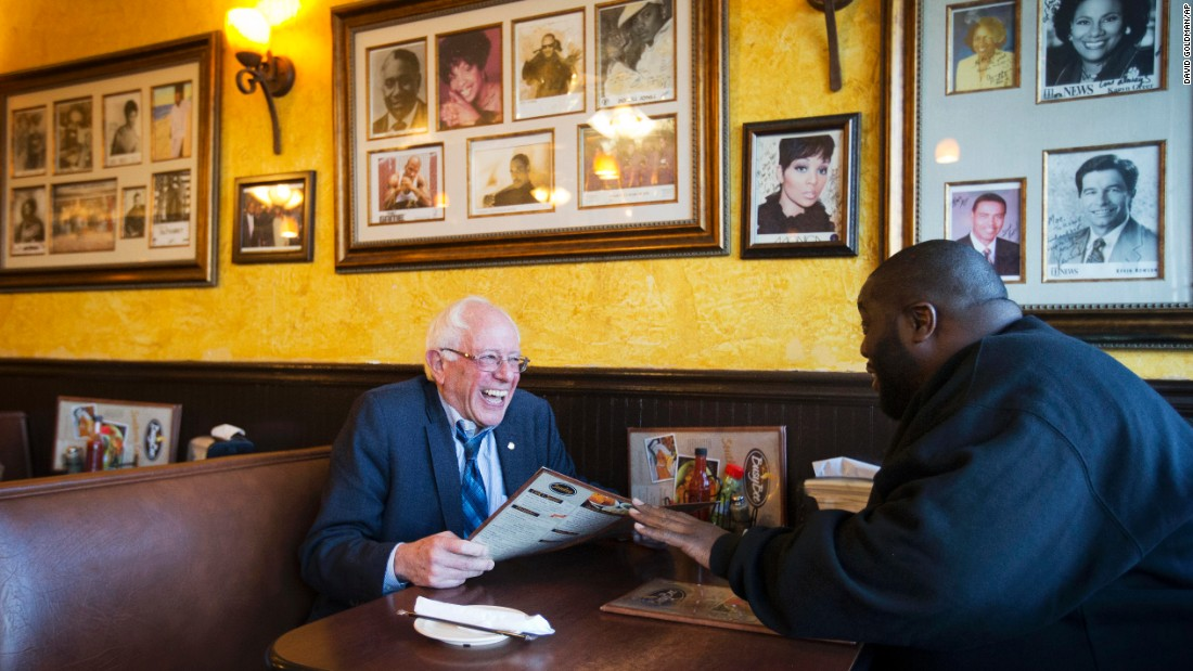 "Sanders sits with rapper and activist Killer Mike at the Busy Bee Cafe in Atlanta in November 2015. That evening, Killer Mike <a href=""http://www.cnn.com/2015/11/24/politics/bernie-sanders-killer-mike/index.html"" target=""_blank"">introduced Sanders at a campaign event</a> in the city. ""I'm talking about a revolutionary,"" the rapper told supporters. ""In my heart of hearts, I truly believe that Sen. Bernie Sanders is the right man to lead this country."""