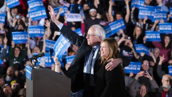 Sanders and his wife, Jane, wave to the crowd during a primary night rally in Concord, New Hampshire, in February 2016. Sanders defeated Clinton in the New Hampshire primary with 60% of the vote, becoming the first Jewish candidate to win a presidential primary.