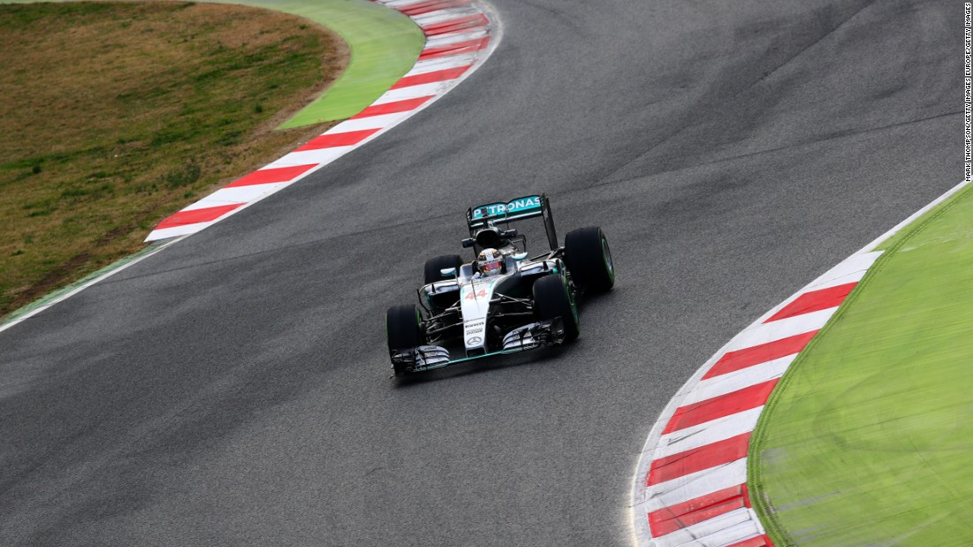 World champion Hamilton gets back on track as he takes the new Mercedes for a spin during the first day of testing at Barcelona's curvaceous Circuit de Catalunya, home to the Spanish Grand Prix.