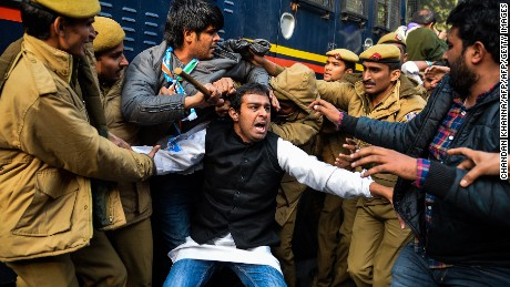 Indian police detain National Students Union of India (NSUI) students during a protest, after a student found was dead at a university hostel, in New Delhi on January 22, 2016. Rohit Vemula, a 26-year-old doctoral student at the university of Hyderabad, was found hanged on January 17, triggering protests in the southern city and New Delhi. He was one of five students, all from India's lowest Dalit social caste, to be suspended by the university after they were accused of assaulting the head of a right-wing student political group -- a charge they denied. AFP PHOTO / Chandan KHANNA / AFP / Chandan KhannaChandan Khanna/AFP/Getty Images