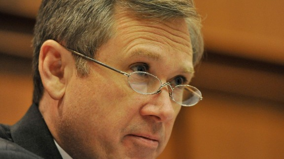 Sen. Mark Kirk (R-IL) questions a group of nuclear experts at a public forum on the safety of Illinois nuclear power plants on March 25, 2011 in Chicago, Illinois.
