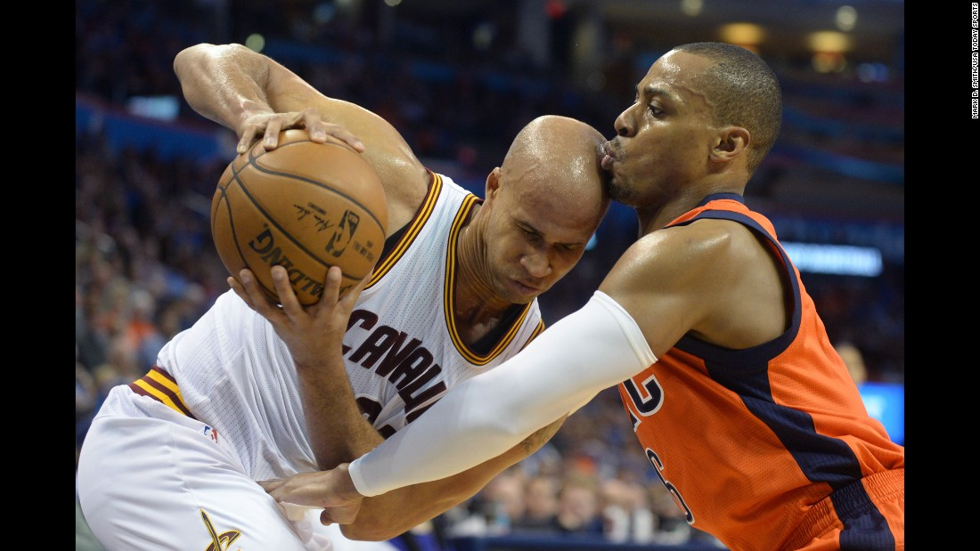 Cleveland's Richard Jefferson, left, is fouled by Randy Foye during an NBA game in Oklahoma City on Sunday, February 21.