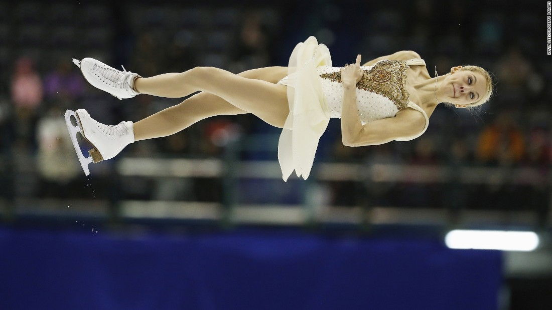 American figure skater Alexa Scimeca goes airborne Saturday, February 20, during the Four Continents event in Taipei City, Taiwan. She and Chris Knierim finished second in the pairs competition, behind Sui Wenjing and Han Cong of China.