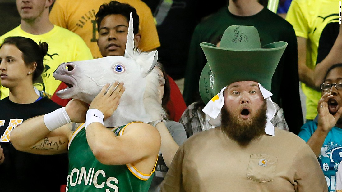 Baylor fans react to a foul called against their team during a college basketball game in Waco, Texas, on Tuesday, February 16.
