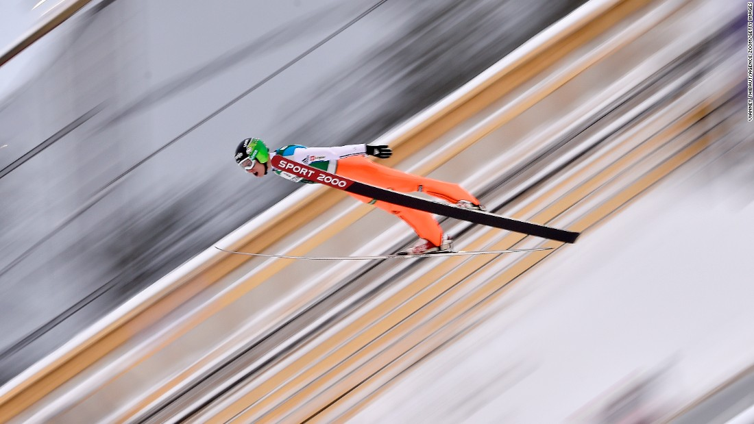 Slovenian ski jumper Jurij Tepes competes at a World Cup event in Lahti, Finland, on Sunday, February 21.