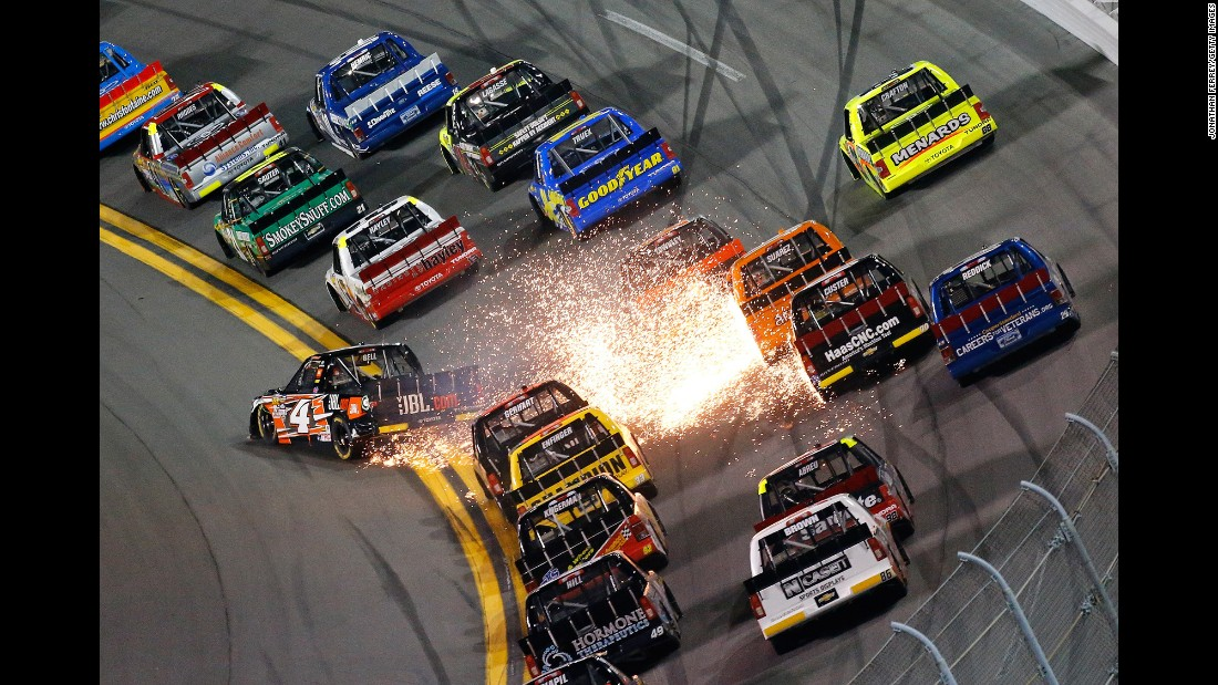 Sparks fly from the truck of Christopher Bell (No. 4) during a NASCAR race in Daytona Beach, Florida, on Friday, February 19.