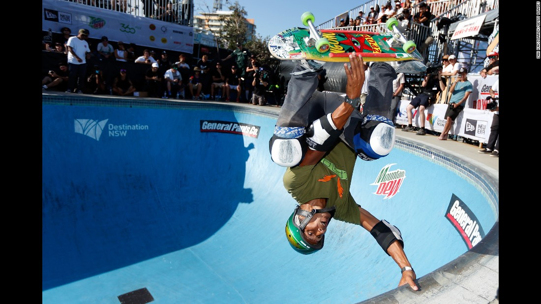 Pat Ngoho takes part in Bowl-A-Rama, Australia's biggest skateboarding competition, on Sunday, February 21.
