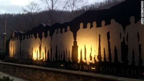 The Upper Big Branch Miners Memorial is seen in Whitesville, West Virginia, in December 2015.
