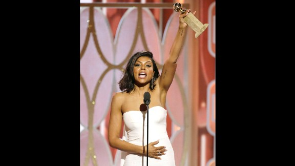 """Taraji P. Henson took home a Golden Globe Award for her standout portrayal of Cookie Lyon in the dramatic series """"Empire."""" Twitter lit up with #blackgirlmagic tributes to everything from her dress to her speech."""