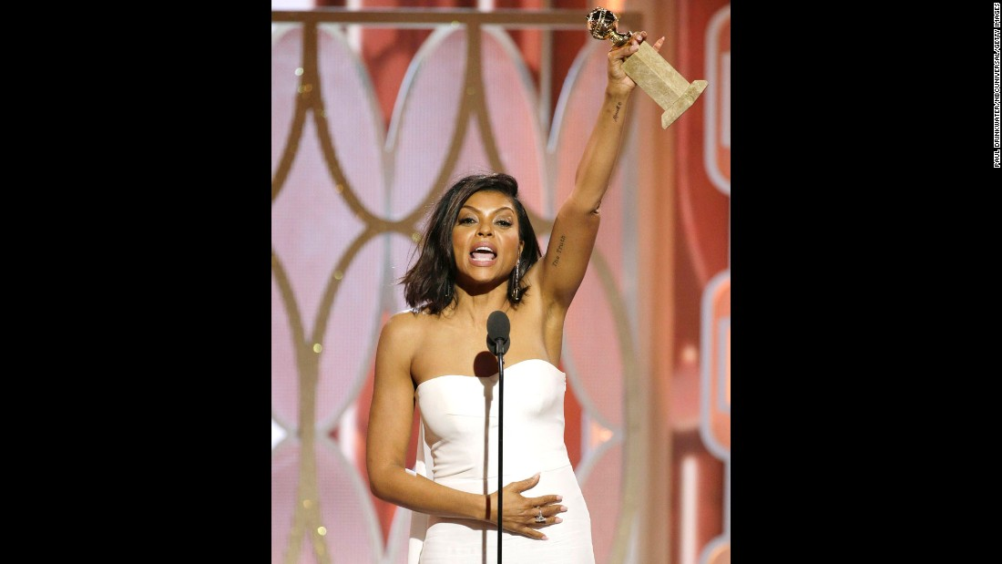 "Taraji P. Henson took home a Golden Globe Award for her standout portrayal of Cookie Lyon in the dramatic series ""Empire."" Twitter lit up with #blackgirlmagic tributes to everything from her dress to her speech."