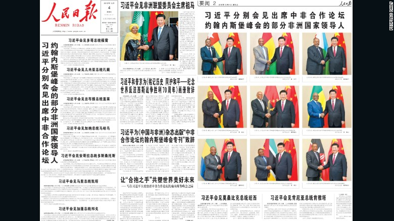 The December 4, 2015 front page of the People's Daily had 11 headlines mentioning Xi Jinping.
