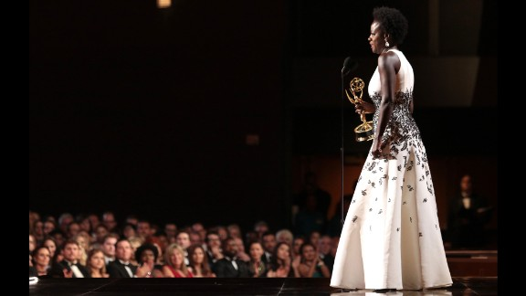 """Viola Davis made history for being the first black woman to win an Emmy for a leading role in a dramatic series, """"How to Get Away With Murder."""" Davis gave a stirring speech about diversity and access, making sure to acknowledge other black actresses like Gabrielle Union, Kerry Washington and Taraji P. Henson."""