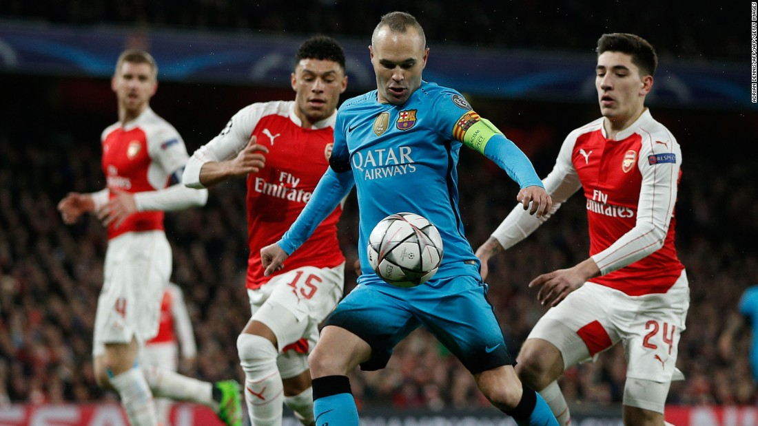 Andres Iniesta found himself the center of attention as Arsenal closed down its opponents at every opportunity.
