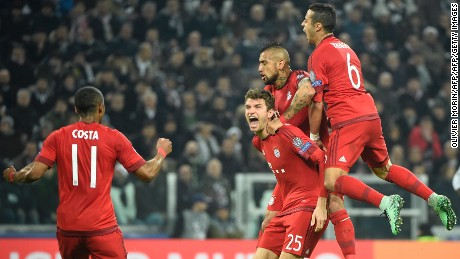 Thomas Muller was on target for Bayern Munich in Turin