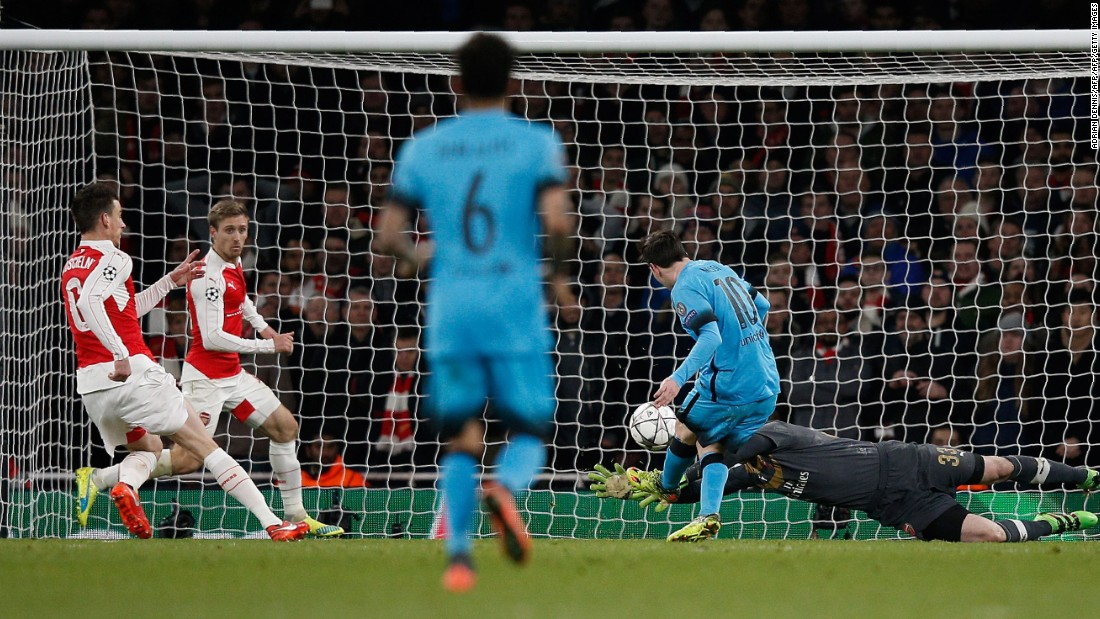 A rapid counter attack ripped through the Arsenal defense and Messi was on hand to fire home from close range. He added a second from the penalty spot with seven minutes remaining to finish Arsenal off.
