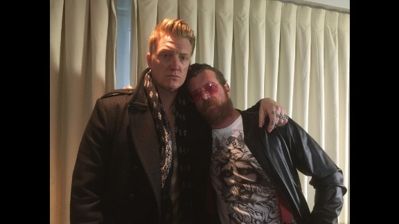 """PARIS: Eagles of Death Metal founders Josh Homme and Jesse Hughes ahead of the band's return to the stage in Paris, three months after the Paris attacks left 89 of their """"friends"""" dead at the Bataclan. """"It's much more than just a show,"""" says Hughes. Photo by CNN's Bryony Jones @bryonysjones, February 16."""