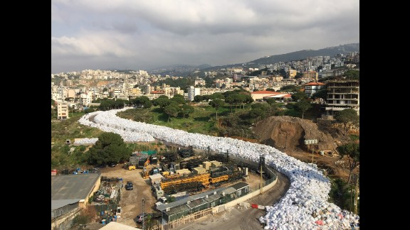 LEBANON: Beirut's river of garbage... The country cancelled plans to export its trash to Russia last week, sending Beirut's six-month garbage crisis back to square one with rubbish piling up in the streets, riverbeds and countryside. Photo by CNN's Mohammed Tawfeeq @mtawfeeq, February 24.