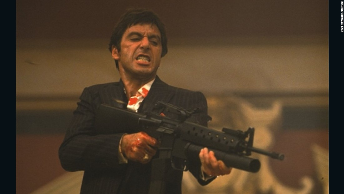 "<strong>'Scarface':</strong> In 1983, Al Pacino's ""Scarface"" remade a 1930s gangster flick and turned it into a colorful bloodfest chronicling the rise and fall of Tony Montana -- a ""political refugee from Cuba"" who becomes a Miami drug lord. A lot of lines from the script -- written by Oliver Stone by the way -- have become part of pop culture. Need proof? Many who've never even seen ""Scarface"" know the famous line Montana screams as he opens fire: ""Say hello to my little friend!"""