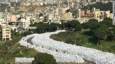 LEBANON: Beirut's river of garbage... The country canceled plans to export its trash to Russia last week, sending Beirut's six-month garbage crisis back to square one with rubbish piling up in the streets, riverbeds and countryside. Photo by CNN's Mohammed Tawfeeq, February 24.