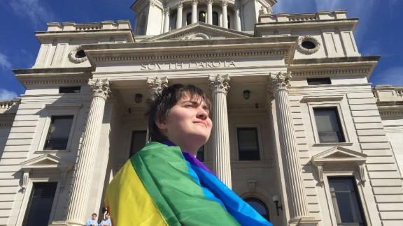 Transgender student Thomas Lewis met with South Dakota Gov. Dennis Daugaard Tuesday  at the state capitol.
