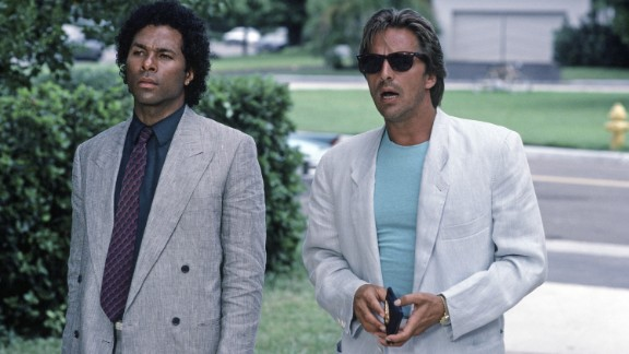 """<strong>'Miami Vice':</strong> It started when NBC entertainment chief Brandon Tartikoff wrote a memo with an idea for a TV drama about """"MTV cops."""" Not long after, """"Miami Vice"""" was born -- stylishly produced by Michael Mann and shot on location in Miami starring Philip Michael Thomas, left, as Rico Tubbs and Don Johnson as Sonny Crockett. They didn't skimp on the music. The theme song by Jan Hammer became a No. 1 hit. Miami Vice ran from 1984 to 1990."""