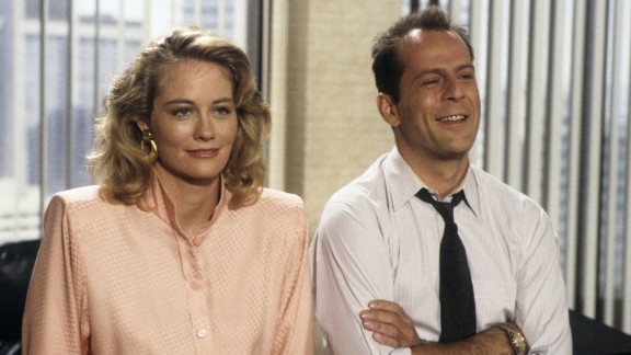 """<strong>'Moonlighting':</strong> This screwball comedy broke out of the regular TV comedy formula, experimenting with ideas like a musical episode or an episode shot in black and white. But the undeniable star of the show was the romantic chemistry created by lead actors Cybill Shepherd and Bruce Willis. They took the """"Sam and Diane"""" element from """"Cheers"""" and escalated it. With """"Cheers"""" it was, """"Will they or won't they?"""" In """"Moonlighting,"""" it was, """"Do they even want to?"""""""