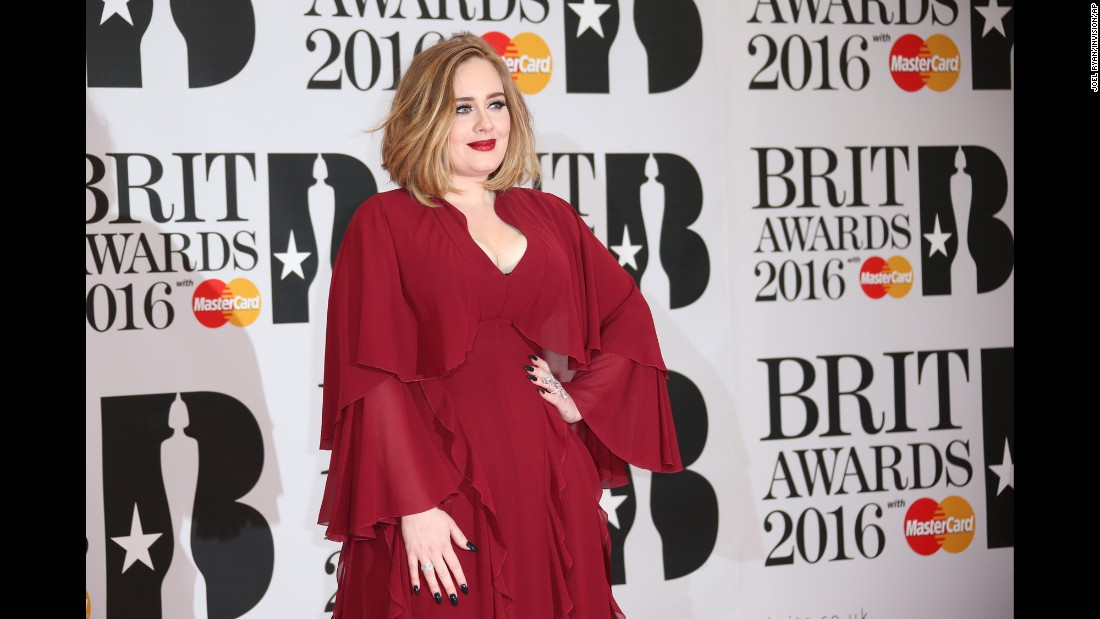 Adele poses for photographers at the 2016 Brit Awards in London on Wednesday, February 24.