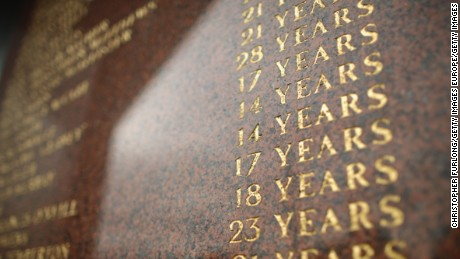 Names and ages of victims are inscribed on the Hillsborough memorial at Liverpool FC's Anfield Stadium.