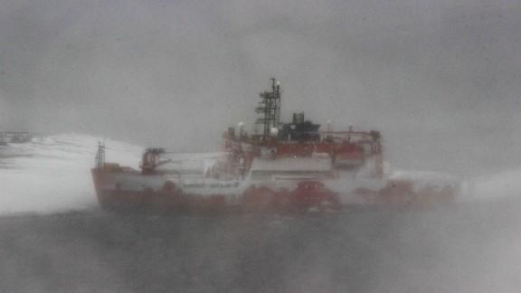 Australian icebreaker the Aurora Australis runs aground at Mawson Station in Antarctica on Thursday, February 25.