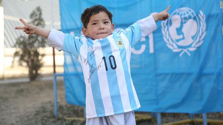 d55994a2a Lionel Messi meets  plastic shirt  boy Murtaza Ahmadi - CNN