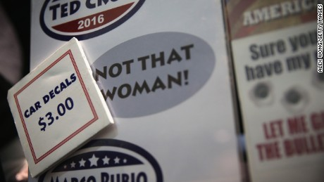 Car decals are for sale at a booth during the 2015 Southern Republican Leadership Conference May 21, 2015 in Oklahoma City, Oklahoma.