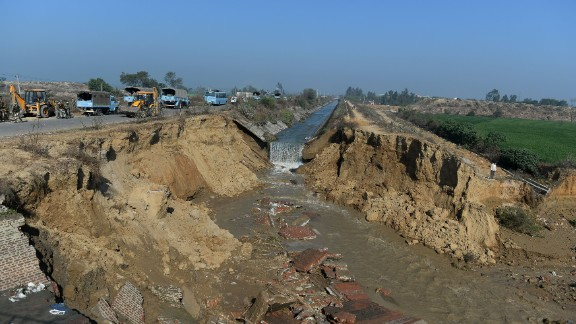 A damaged portion of the Munak canal, which supplies water to New Delhi, near Bindroli village in Haryana