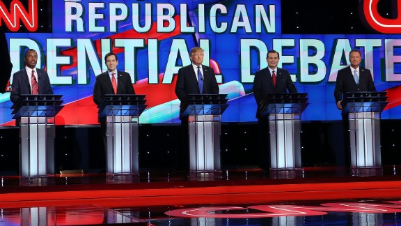 HOUSTON, TX - FEBRUARY 25: Republican presidential candidates Ben Carson,  Florida Sen. Marco Rubio (R-FL), Donald Trump, Texas Sen. Ted Cruz (R-TX) and Ohio Gov. John Kasich (L-R) stand on stage for the Republican National Committee Presidential Primary Debate at the University of Houston's Moores School of Music Opera House on February 25, 2016 in Houston, Texas. The candidates are meeting for the last  Republican debate before the Super Tuesday primaries on March 1. (Photo by Joe Raedle/Getty Images)