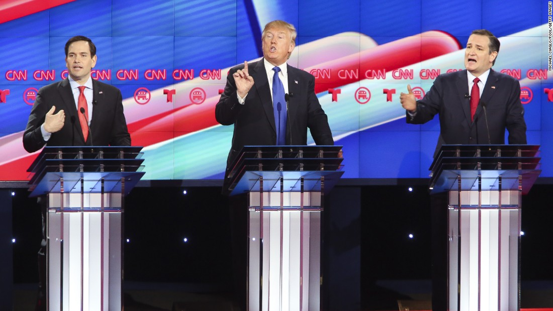 "Republican presidential candidates U.S. Sen. Marco Rubio, left, Donald Trump, center, and U.S. Sen. Ted Cruz face off in the CNN Republican <a href=""http://www.cnn.com/2016/02/26/politics/republican-debate-recap/index.html"">presidential debate</a> Thursday, February 25, in Houston. The debate is the last before the March 1 Super Tuesday primaries."