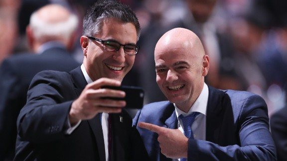 ZURICH, SWITZERLAND - FEBRUARY 26:  FIFA Presidential candidate Gianni Infantino (R) poses with a member of the Australia Football Federation during the Extraordinary FIFA Congress at Hallenstadion on February 26, 2016 in Zurich, Switzerland.  (Photo by Richard Heathcote/Getty Images)