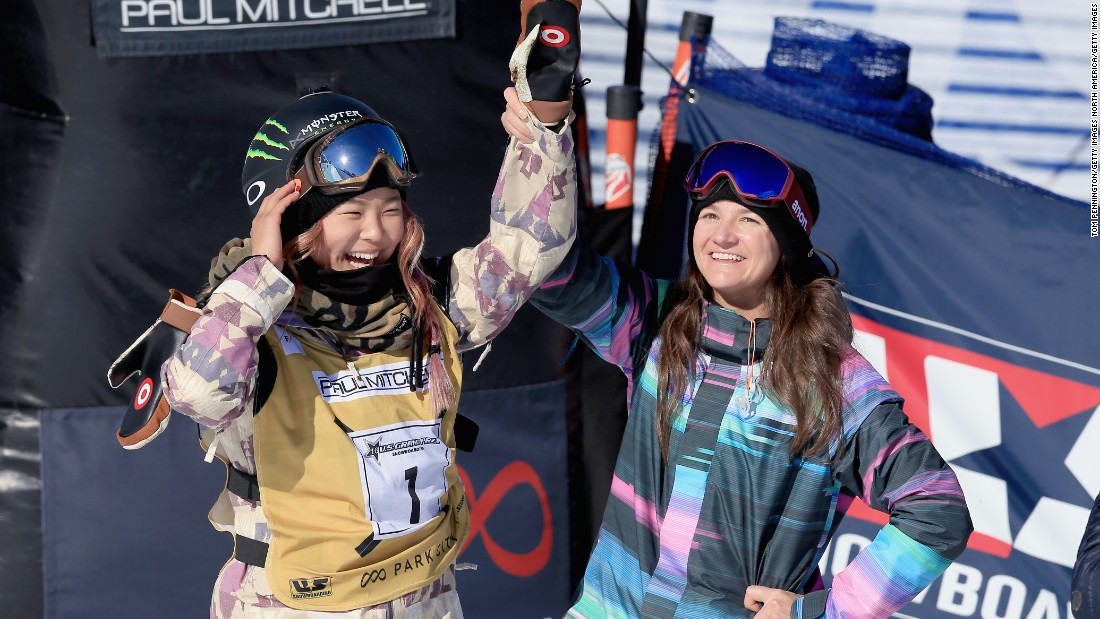 Chloe Kim (left) celebrates a first place finish with Kelly Clark -- the most decorated halfpipe snowboarder in history -- at the 2016 US Snowboarding Park City Grand Prix on February 6, 2016 in Park City, Utah.