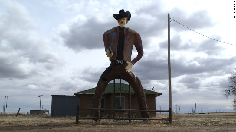 """Tex,"" a hulking cowboy on the outskirts of Stratford, Texas, in the panhandle."