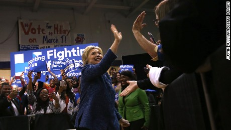 "Democratic presidential candidate former Secretary of State Hillary Clinton greets supporters during a ""Get Out The Vote"" at Miles College on February 27, 2016 in Fairfield, Alabama."