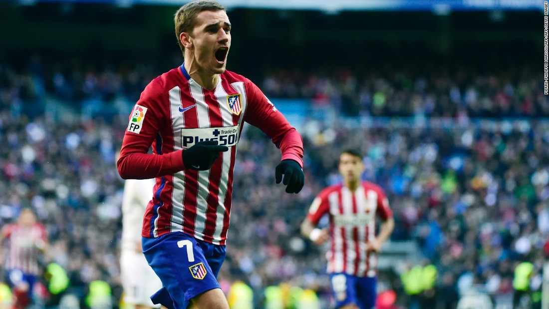 Atletico Madrid's French forward Antoine Griezmann scored the only goal of the game at the Santiago Bernabeu Saturday.
