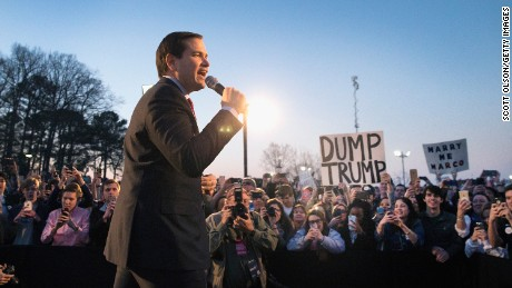 HUNTSVILLE, AL - FEBRUARY 27:  Republican presidential candidate Sen. Marco Rubio (R-FL) speaks at a campaign rally at the Space and Rocket Center on February 27, 2016 in Huntsville, Alabama. Rubio is in Alabama trying to gain support in front of the Super Tuesday primaries which will be held on March 1st.  (Photo by Scott Olson/Getty Images)