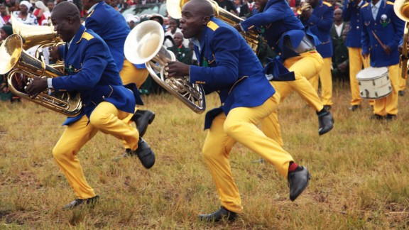 Members of a band perform during celebrations to mark the occasion on February 27, 2016. Several concerts, street parades, and parties were organized, reportedly costing $800,000.