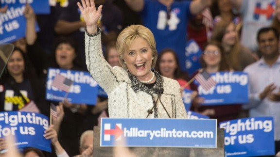 US Democratic presidential candidate Hillary Clinton waves after addressing a primary night rally in Columbia, South Carolina, on February 27, 2016. Clinton defeated Bernie Sanders by an overwhelming margin in the Democratic primary in South Carolina, projections showed, seizing momentum ahead of the most important day of the nomination race: next week